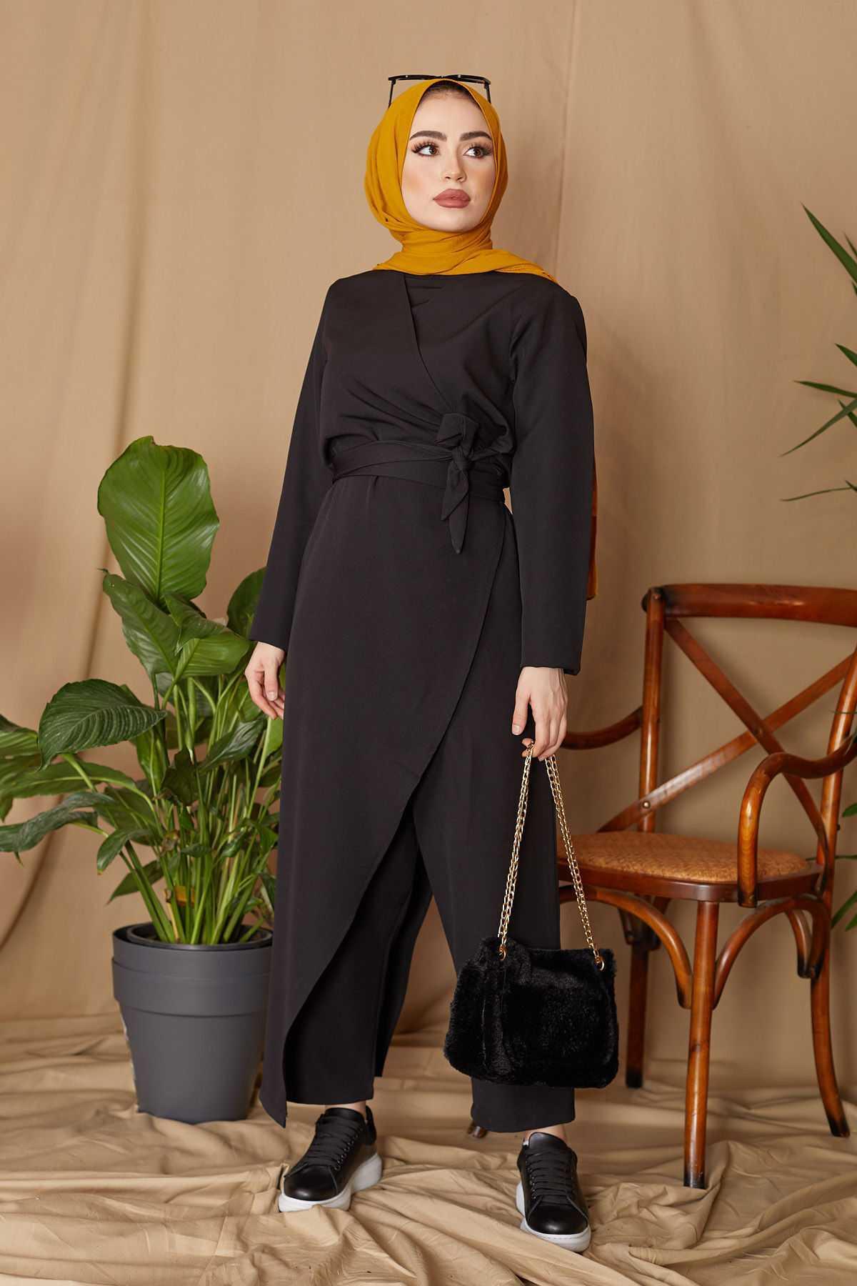 Hf Moda Tesettür Double Krep Siyah Tulum Modelleri