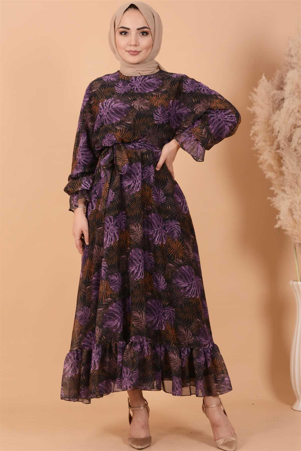 Koçin Butik Tesettür Desenli Şifon Elbise Modelleri