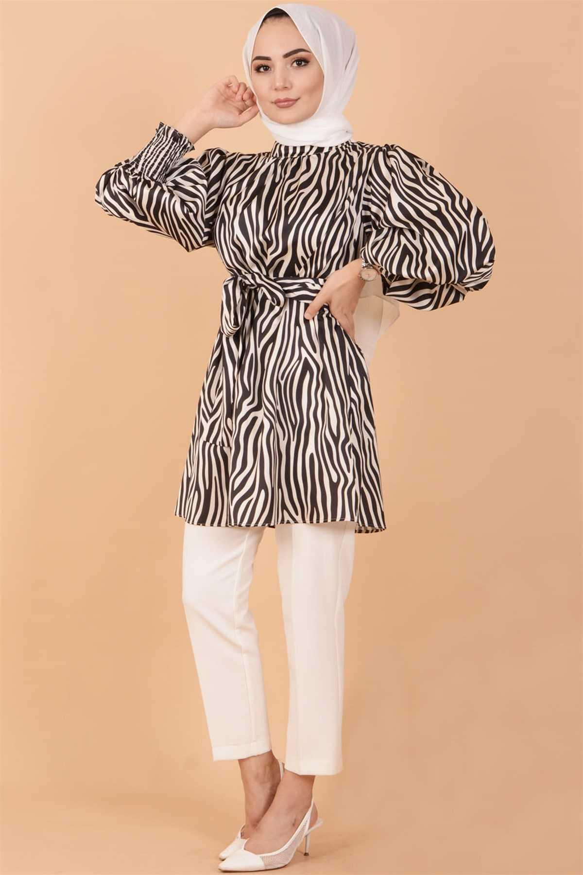 Koçin Butik Zebra Desenli Tesettür Saten Tunik Modelleri