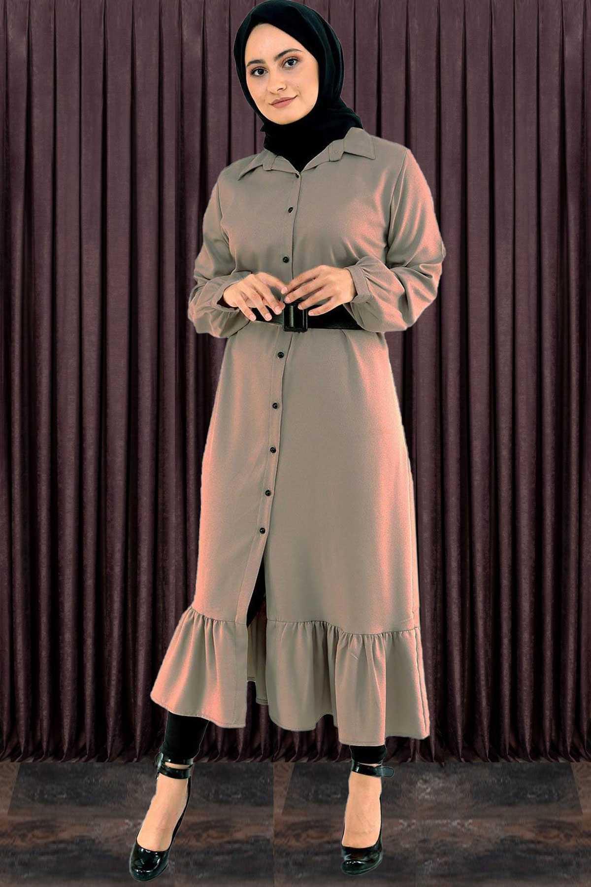Kral Giyim Boydan Tesettür Fırfırlı Elbise Modelleri