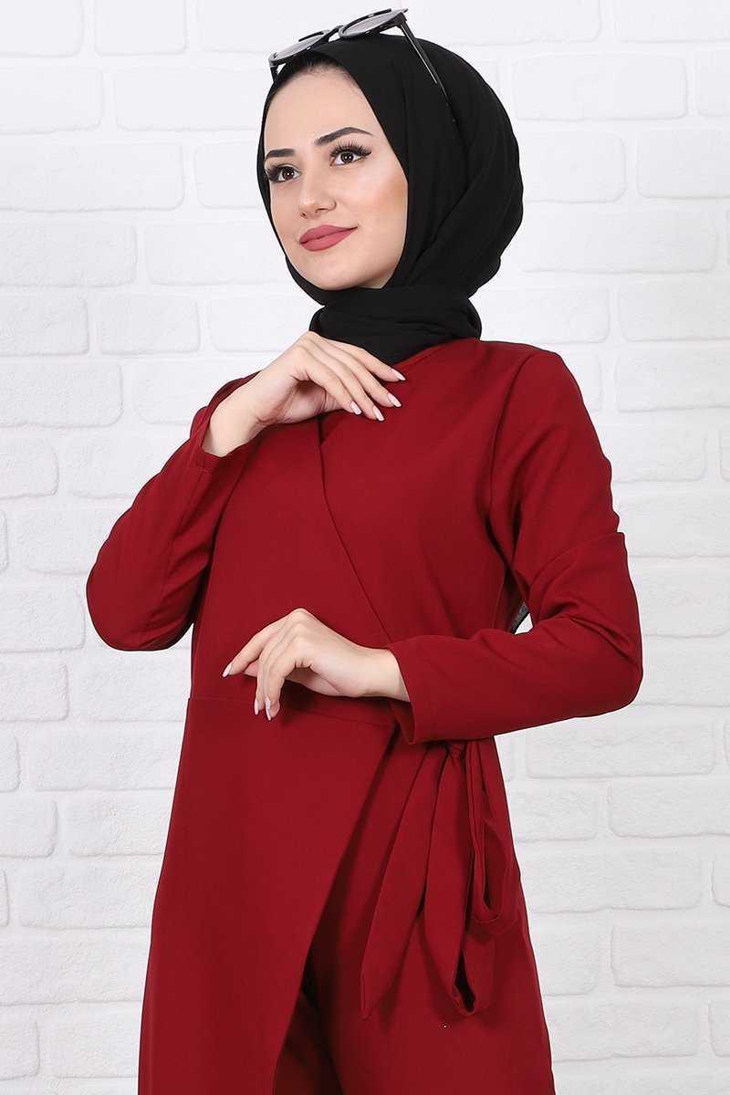 Lamia Giyim Belden Bağlamalı Tesettür Bordo Krep Tulum Modelleri