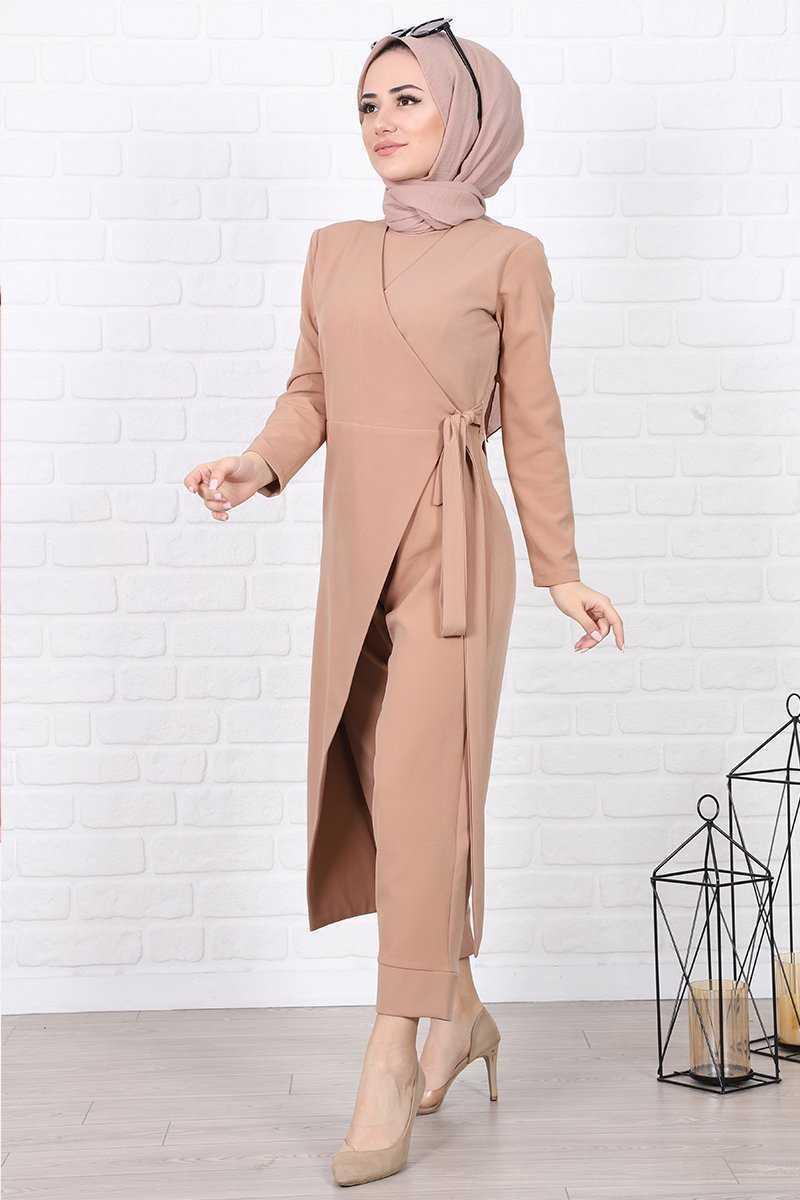 Lamia Giyim Belden Bağlamalı Tesettür Krep Tulum Modelleri