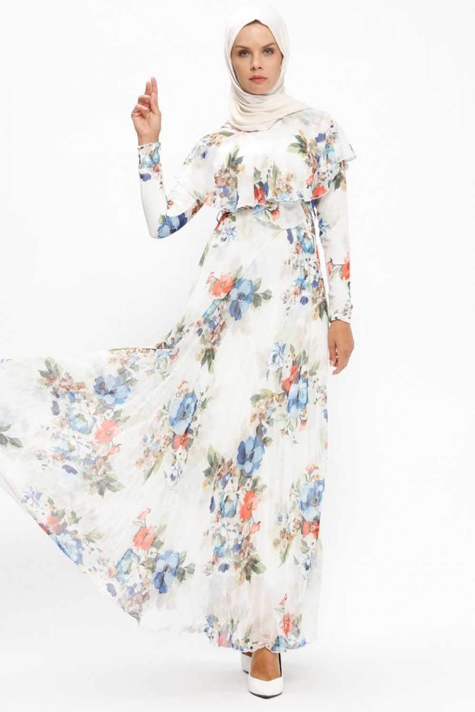 Loreen By Puane Tesettür Çiçek Desenli Şifon Elbise Modelleri