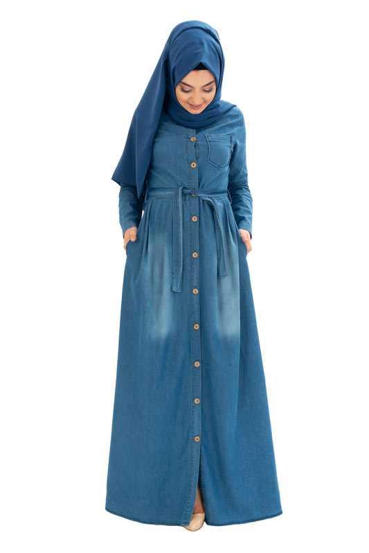 Moda Pinhan Boydan Tesettür Kot Elbise Modelleri