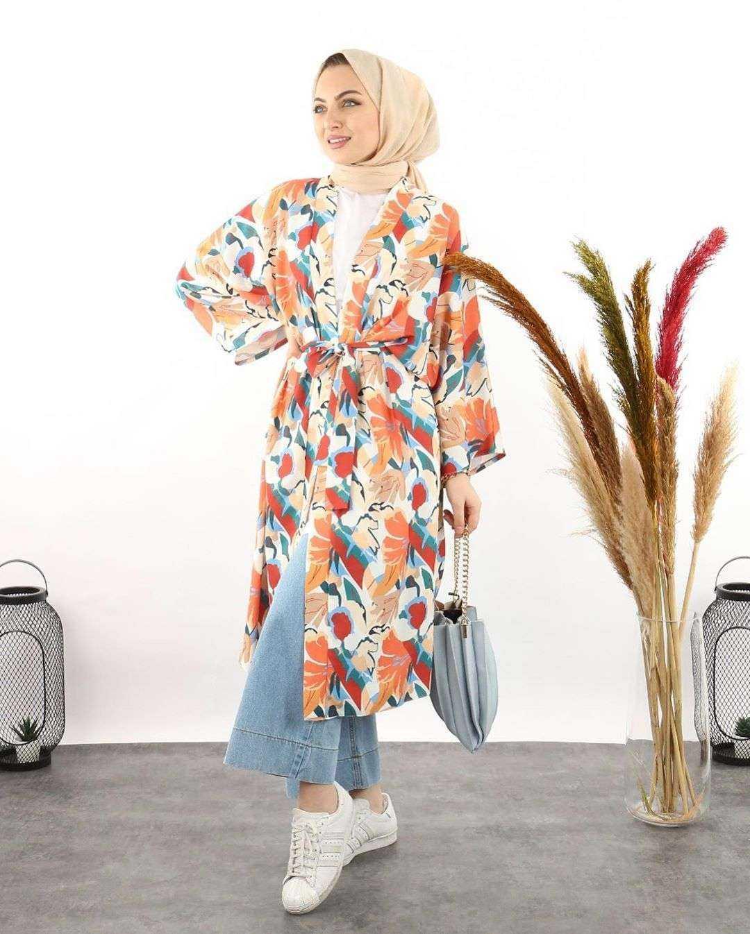 Moda Piyasa Tesettür Kimono Takım Modelleri