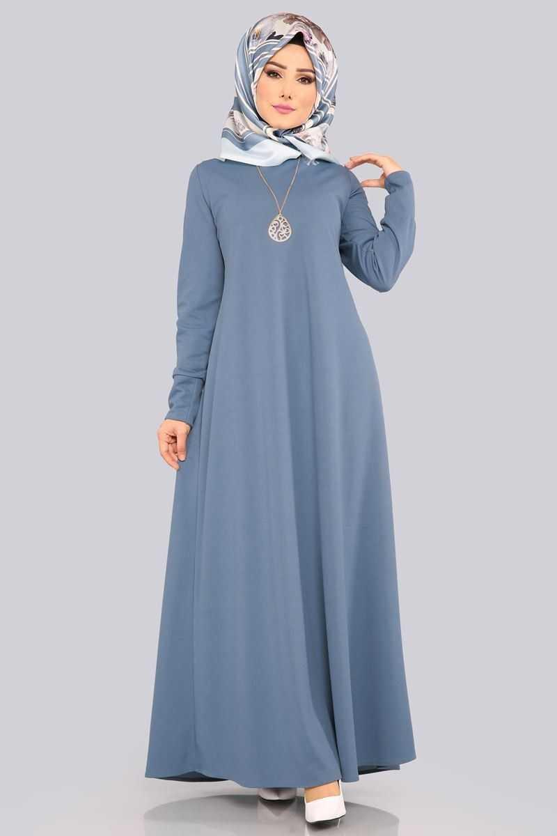 Moda Selvim Kolyeli Boydan Tesettür Elbise Modelleri
