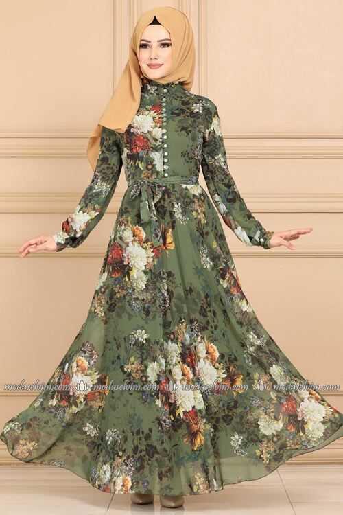Moda Selvim Tesettür Çiçek Desenli Şifon Elbise Modelleri