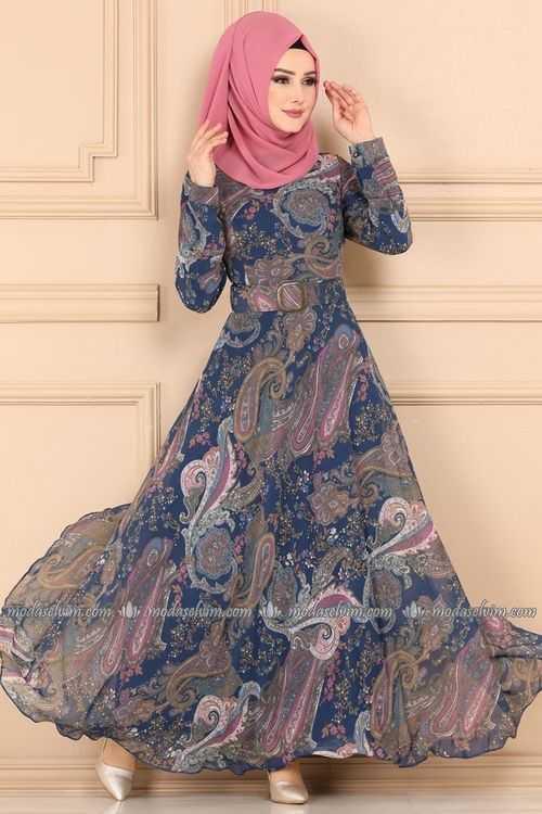Moda Selvim Tesettür Desenli Şifon Elbise Modelleri