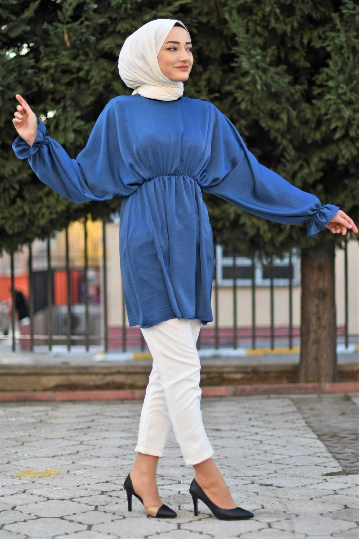 Modam Afra Tesettür Büzgülü Saten Tunik Modelleri