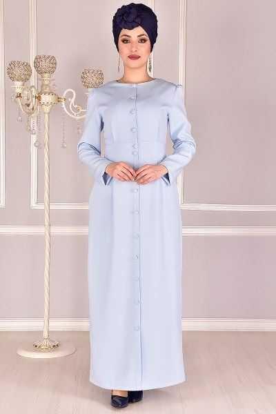 Modamerve Boydan Tesettür Düğmeli Elbise Modelleri