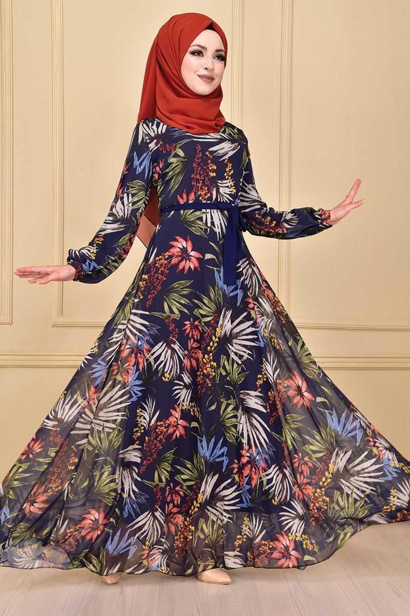 Modamerve Tesettür Desenli Şifon Elbise Modelleri