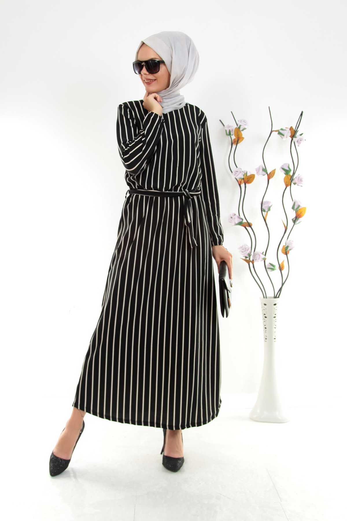 Modaminem Boydan Tesettür Çizgili Elbise Modelleri