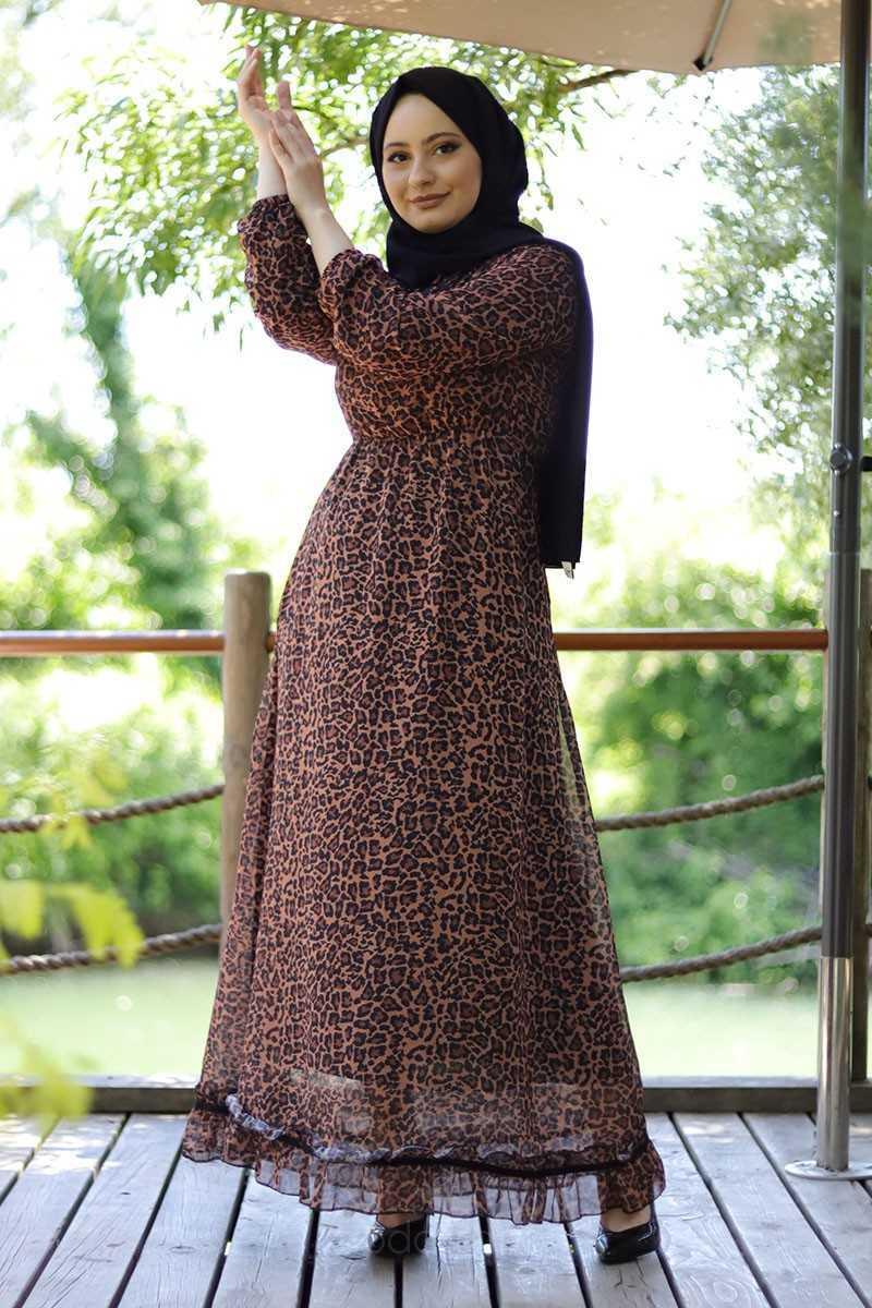 Modarana Tesettür Desenli Şifon Elbise Modelleri