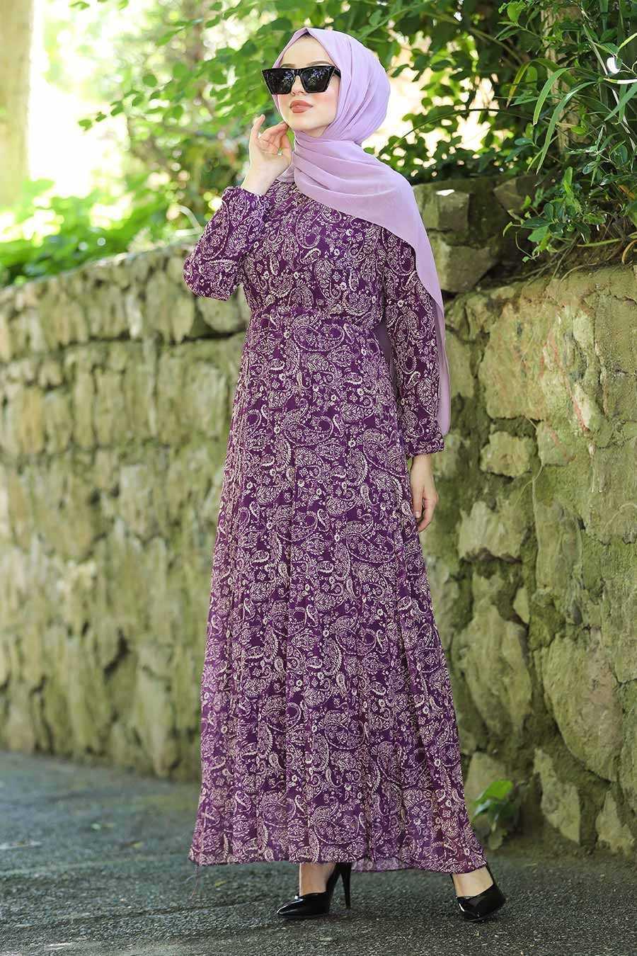 Neva Style Tesettür Desenli Mor Şifon Elbise Modelleri