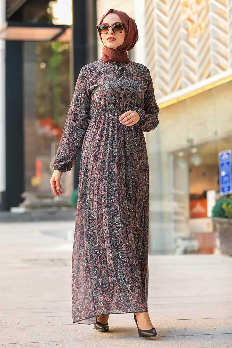 Neva Style Tesettür Desenli Şifon Elbise Modelleri