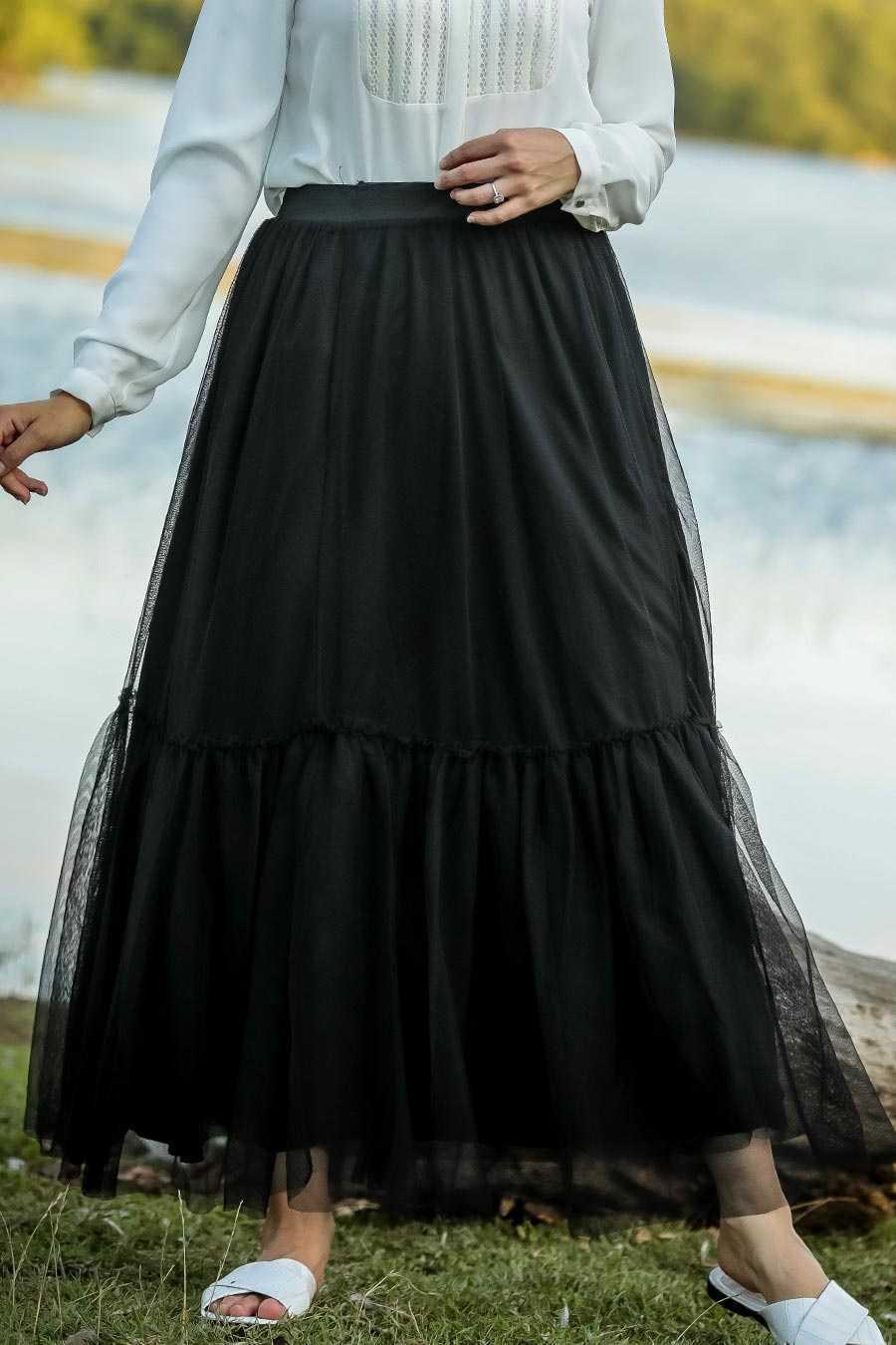 Neva Style Tesettür Tüllü Siyah Etek Modelleri