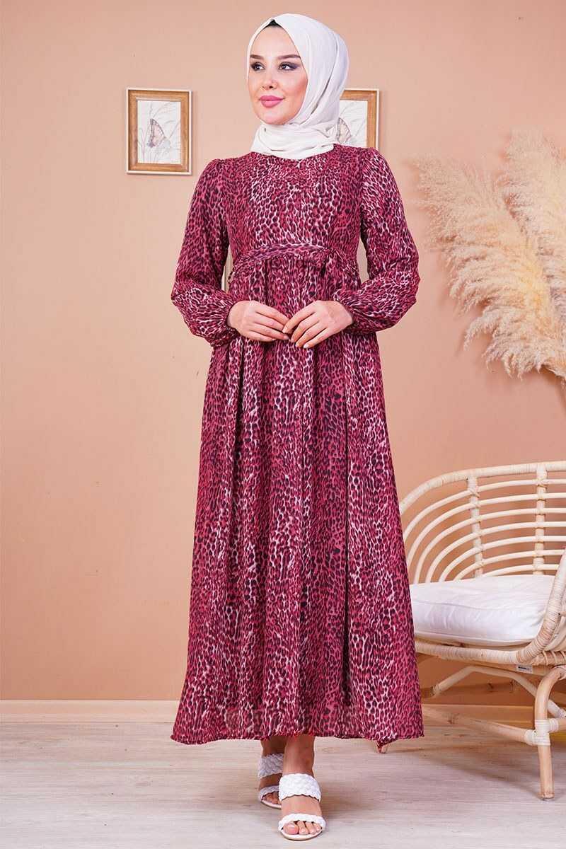 Ngs Tesettür Desenli Şifon Elbise Modelleri