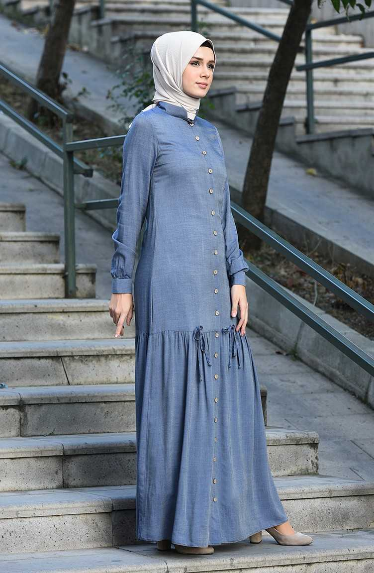 Sefamerve Tesettür Büzgülü Tensel Elbise Modelleri