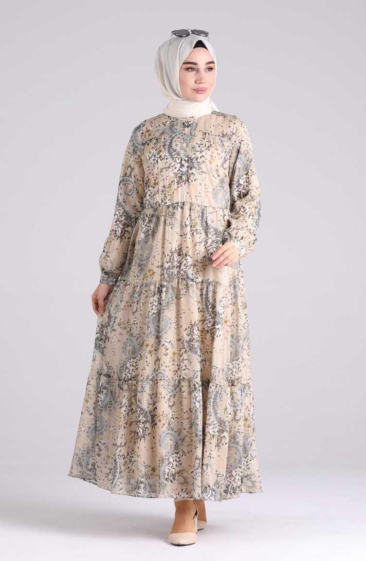 Sefamerve Tesettür Desenli Şifon Elbise Modelleri