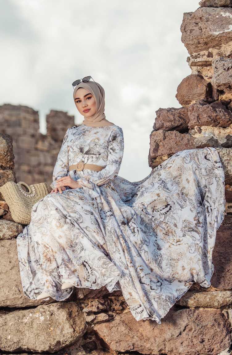 Sefamerve Tesettür Desenli Şık Şifon Elbise Modelleri