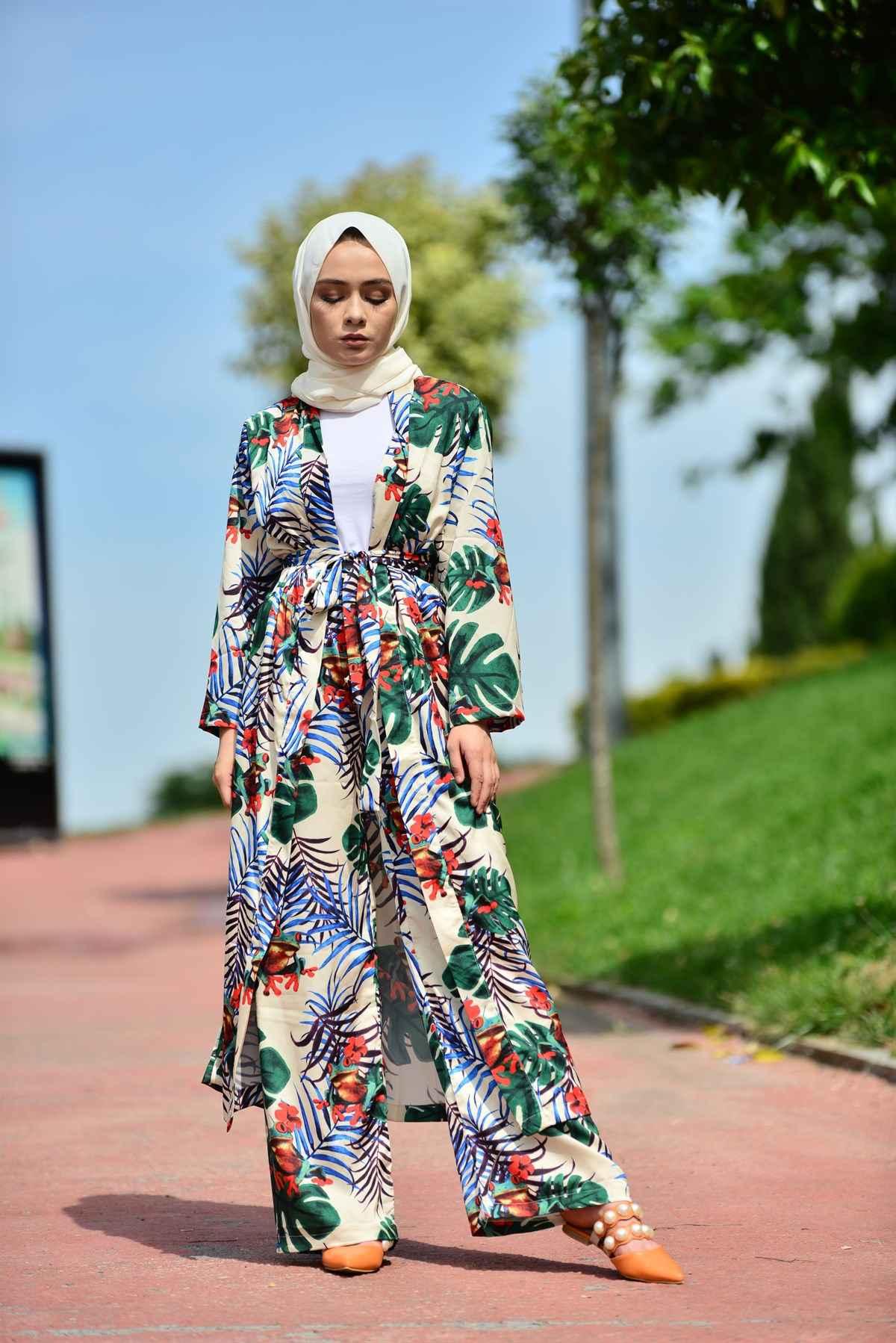 Tesettür Kimono Takım Modelleri
