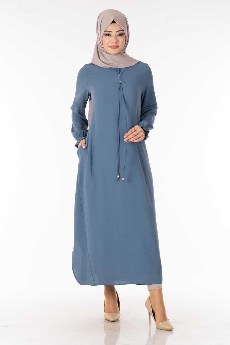 Tesettür Pazarı Bağcıklı Boydan Tunik Modelleri