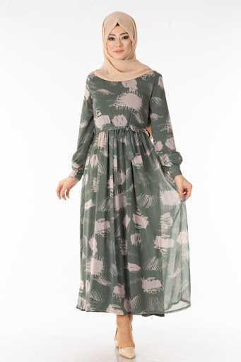Tesettür Pazarı Desenli Şifon Elbise Modelleri