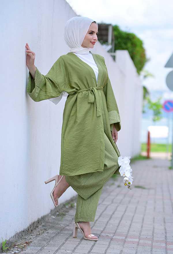Venezia Wear Tesettür Çizgili Kimono Takım Modelleri