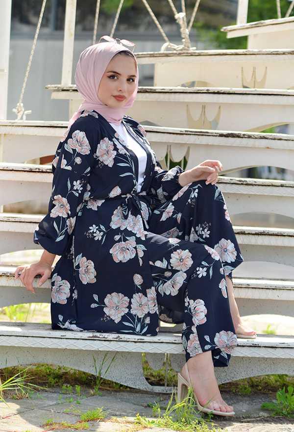 Venezia Wear Tesettür Desenli Kimono Takım Modelleri