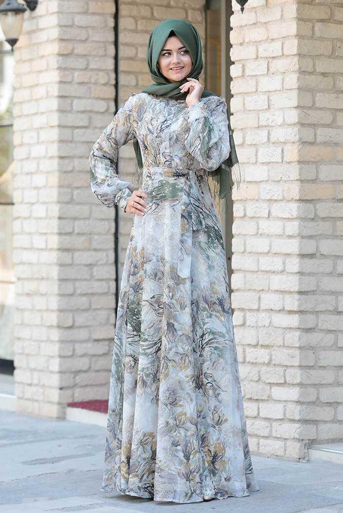 En Güzel Pınar Şems Desenli Tesettür Elbise Modelleri