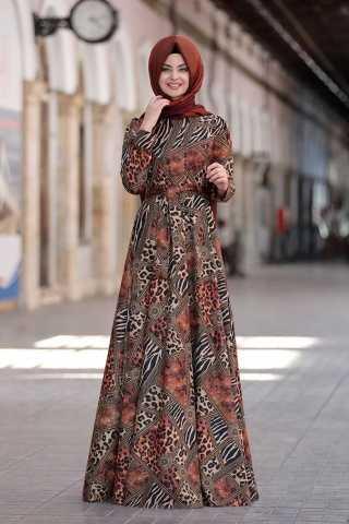 En Özel Pınar Şems Desenli Tesettür Elbise Modelleri