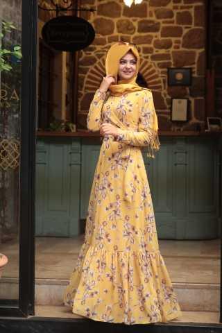 Pınar Şems Desenli Günlük Tesettür Elbise Modelleri