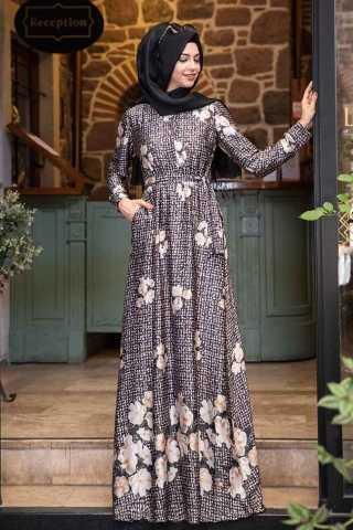 Pınar Şems Desenli Tesettür Elbise Kombinleri