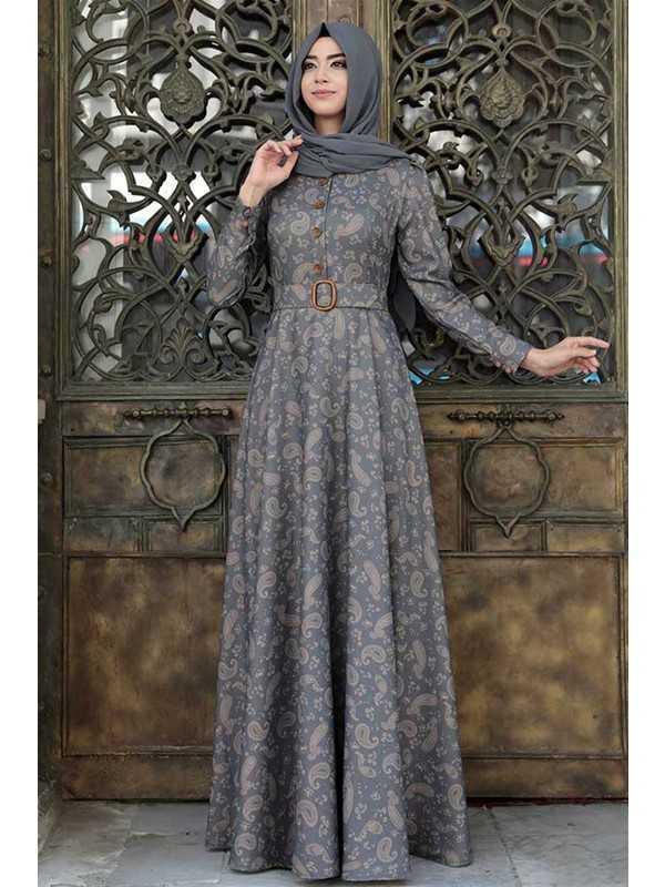 Pınar Şems Şal Desenli Tesettür Elbise Modelleri