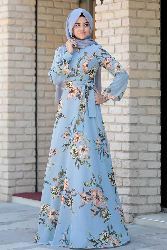 Şık ve Özel Pınar Şems Desenli Tesettür Elbise Modelleri