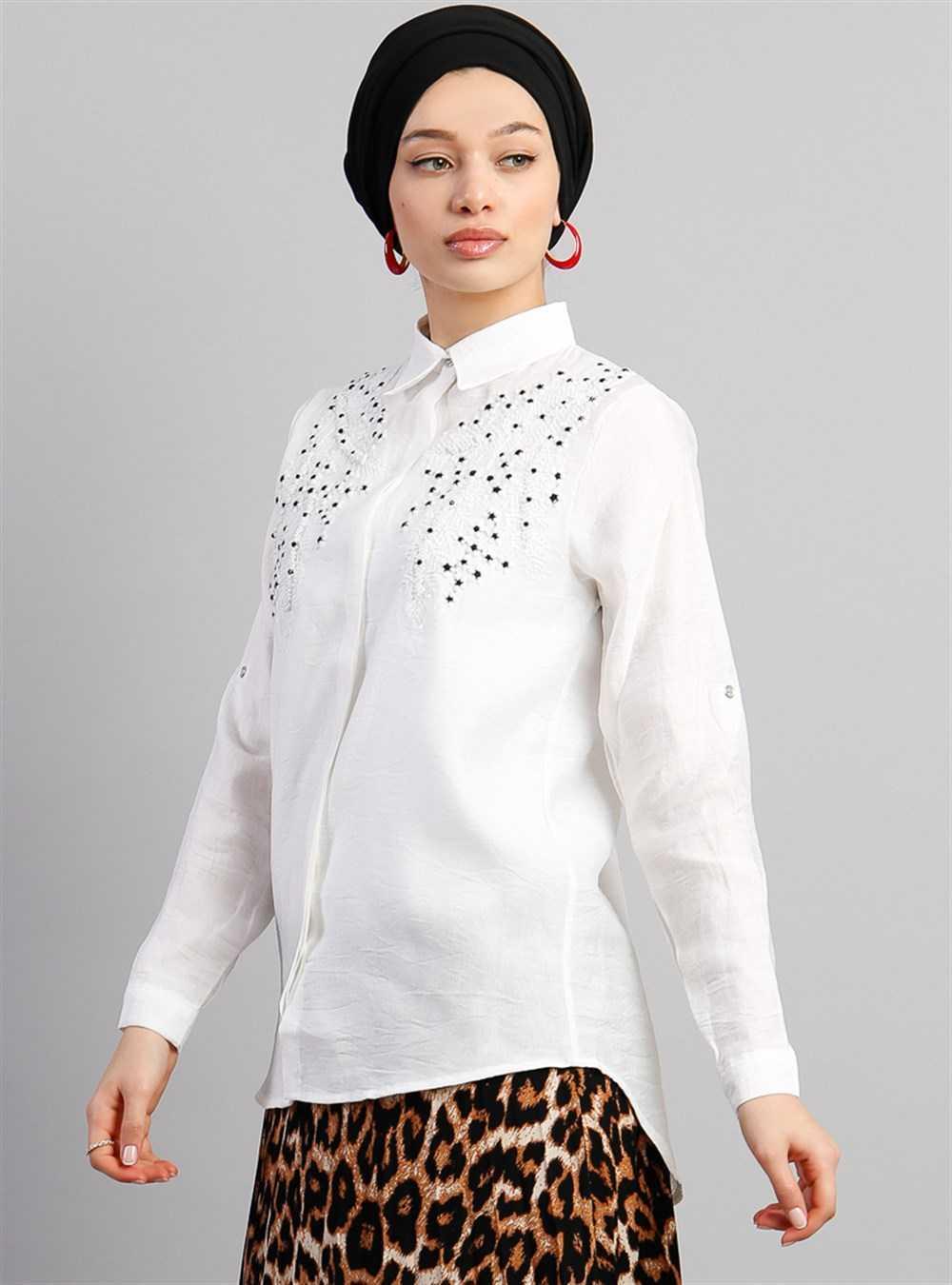 Vamelya Nakışlı Tesettür Gömlek Modelleri