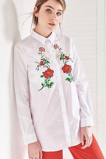 Vavist Çiçek Nakışlı Gömlek Modelleri