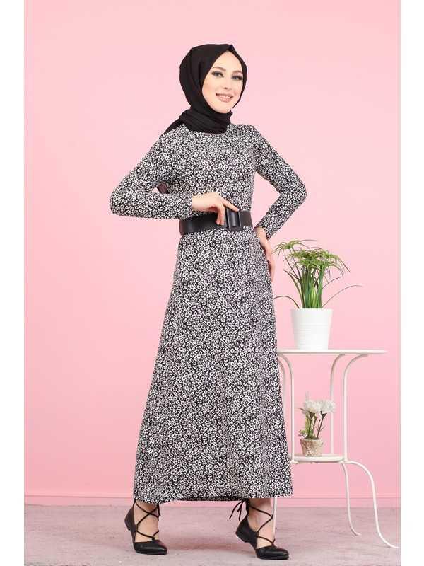 Asfa Moda Tesettür Krep Elbise Modelleri