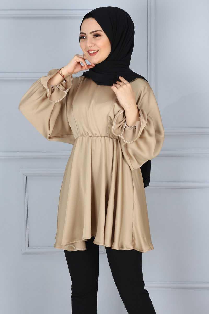 Eymina Tesettür Büzgülü Tunik Modası