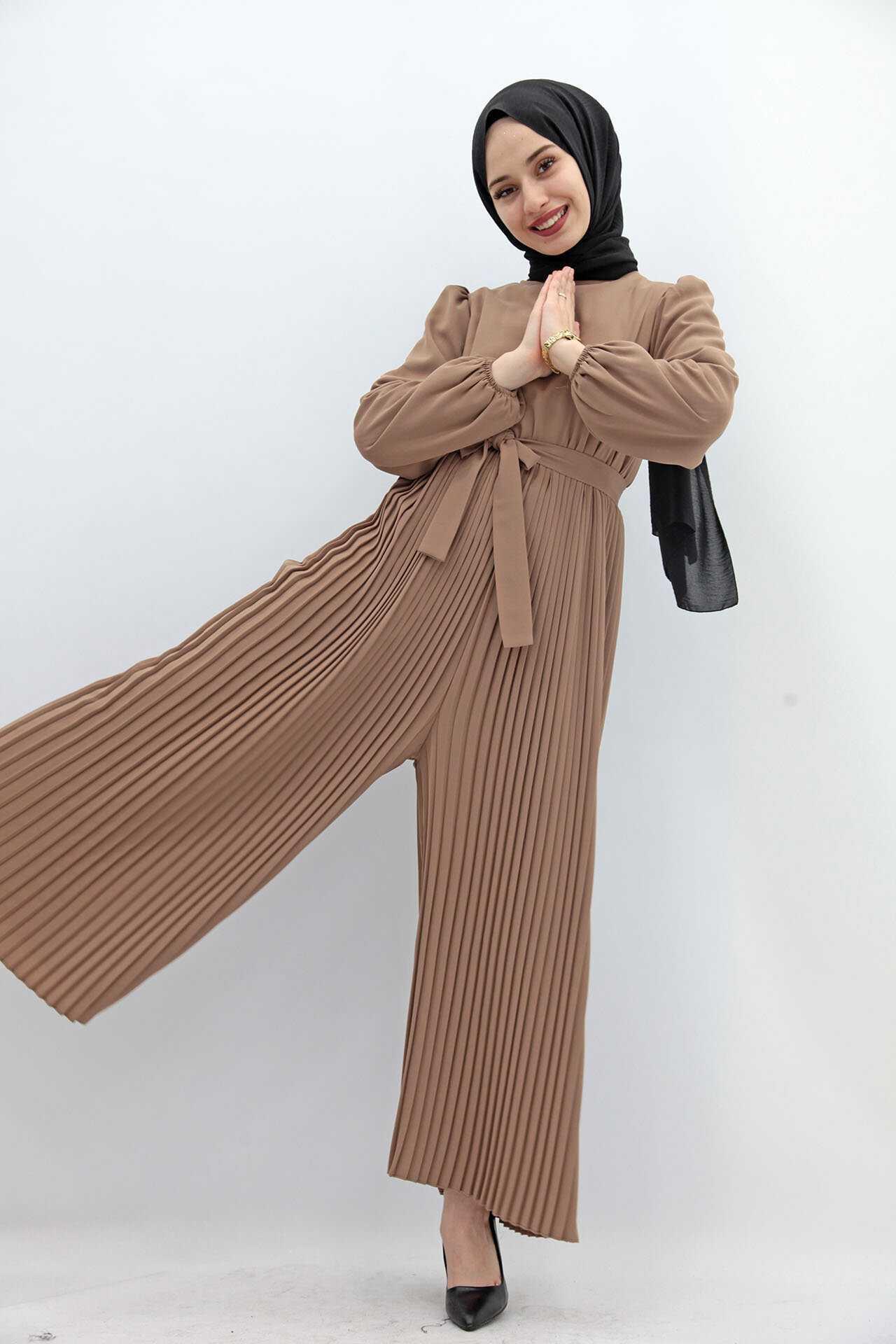 Giza Giyim Tesettür Piliseli Vizon Tulum Modelleri