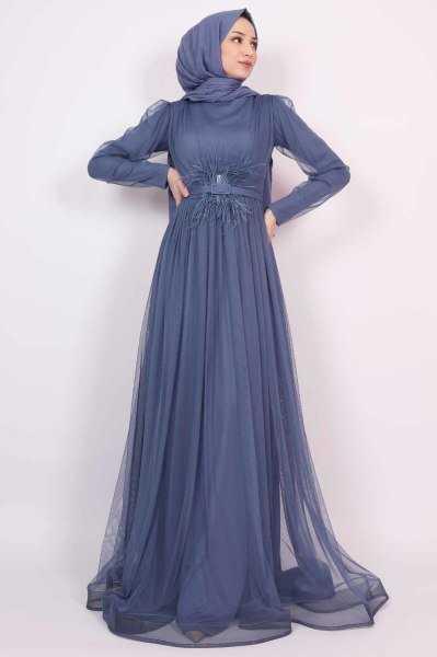 Lamia Giyim Kemerli Tesettür Abiye Modelleri