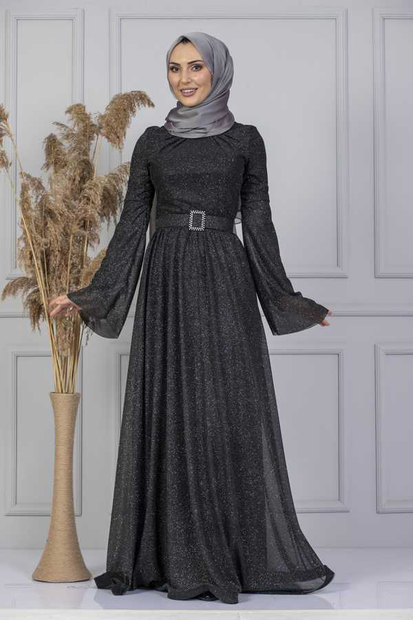 Moda Berfu Simli Kemerli Tesettür Abiye Modelleri