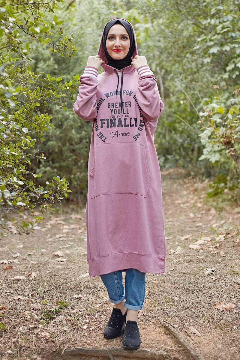 Şık Moda Pinhan Baskılı Tesettür Spor Sweatshirt Modelleri