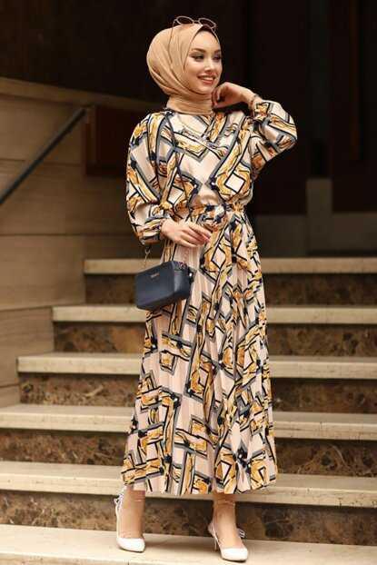 Moda Sahra Tesettür Desenli Krep Elbise Modelleri