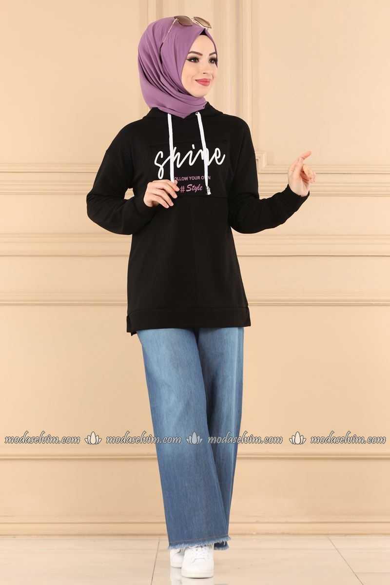 Moda Selvim Baskılı Tesettür Sweatshirt Modelleri