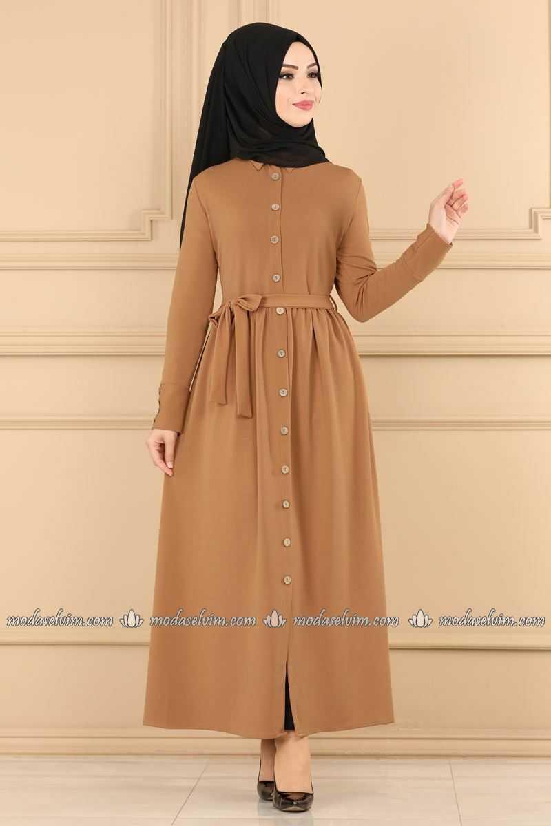 Moda Selvim Tesettür Krep Elbise Modelleri