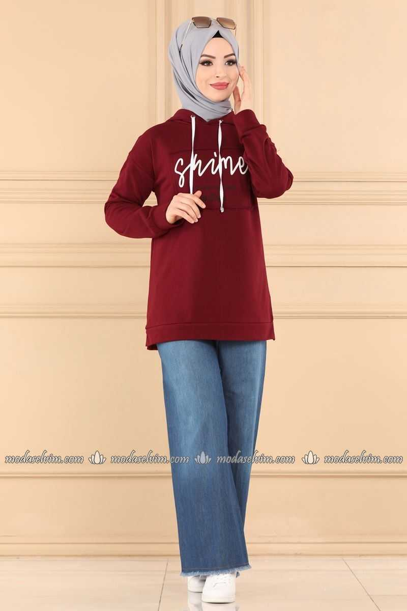 Yazı Baskılı Moda Selvim Tesettür Sweatshirt Modelleri