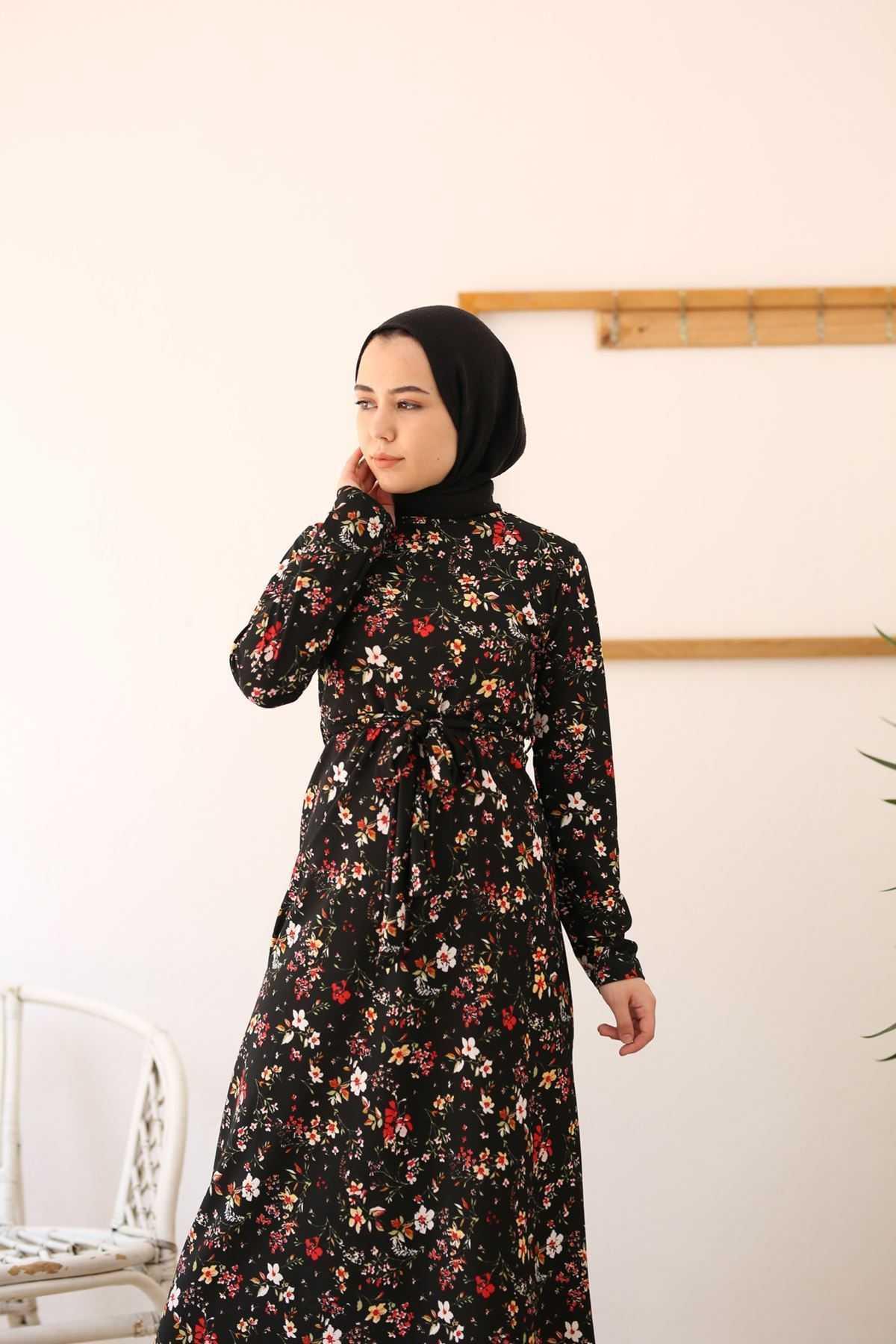 Modamirgül Tesettür Desenli Krep Elbise Modelleri