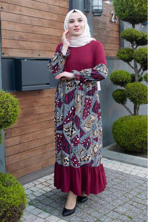 Modayare Tesettür Krep Elbise Modelleri