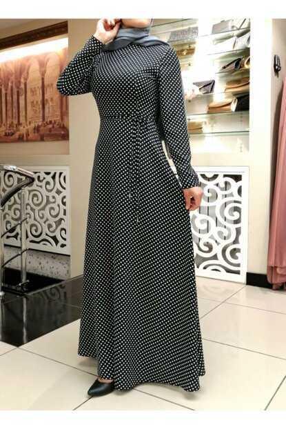 Modazade Tesettür Puantiyeli Krep Elbise Modelleri
